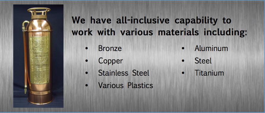 bronze, copper, stainless steel, steel aluminum, titanium, plastics